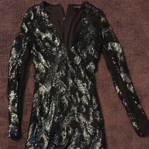 Topshop Sequin V-neck Dress